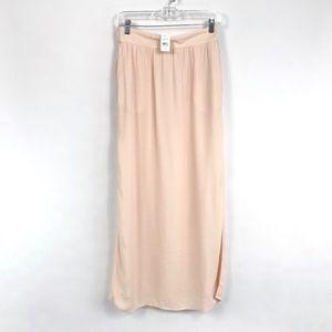 Ann Taylor LOFT Pink Maxi Skirt Side Slit 3565